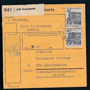 BRD  Paketkarten Stammteil  MEF   457  ( bc9524 ) siehe scan  !