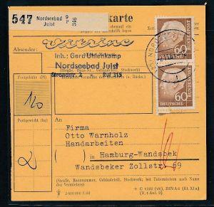 BRD  Paketkarten Stammteil  MEF   262  ( bc9527 ) siehe scan  !