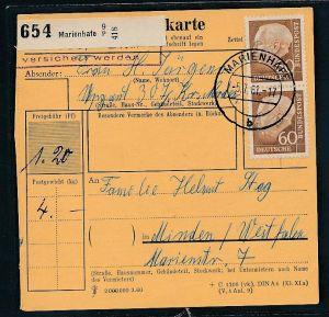BRD  Paketkarten Stammteil  MEF   262  ( bc9526 ) siehe scan  !