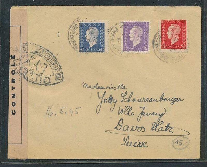 Frankreich Brief Via Schweiz Zensur Bc9673 Siehe Scan Nr
