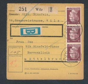 Luxemburg deutsche Besetzung -Paketkarte frankiert mit deutschen Marken ( be 15 ) siehe scan !