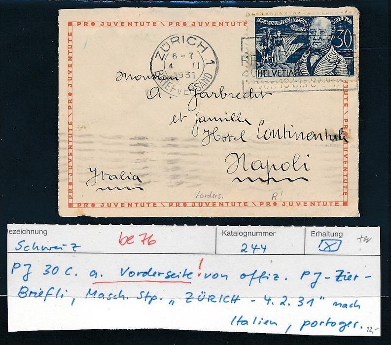 Schweiz -Briefvorderseite  -Bedarf ( be 76 ) siehe scan !