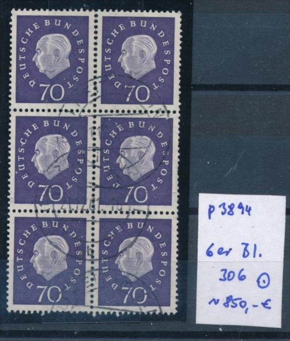 BRD Rollen Marken aus Bogen  6er Block  306  o -seltenes Bedarfsstück (p3894 ) siehe scan !