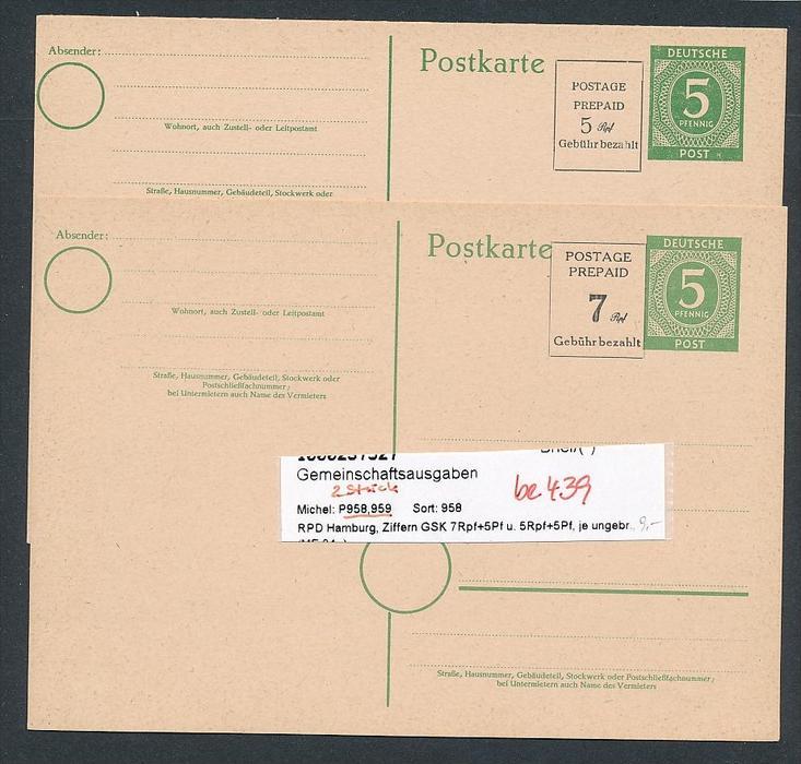 Zonen  2x Ganzsache Hamburg    (  be439 ) siehe scan  !