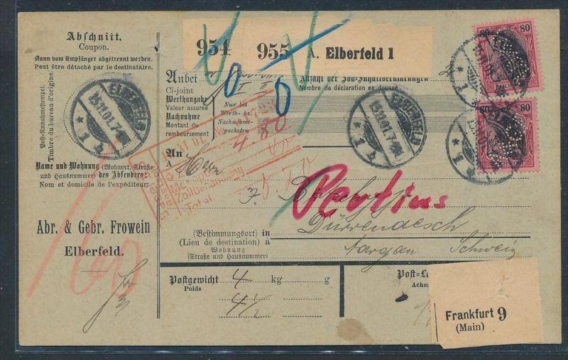 Germania -Paketkarte  MEF  62 -Perfin   (zz8783  ) siehe scan