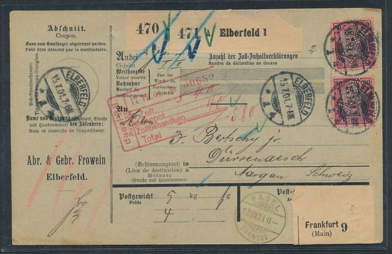 Germania Paketkarte in die Schweiz  MEF.62  -PERFIN (zz8832  ) siehe scan