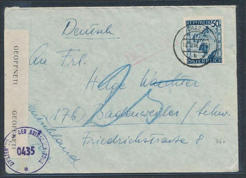 Österreich  - Beleg Zensur Post  (be 1071   ) siehe scan ....