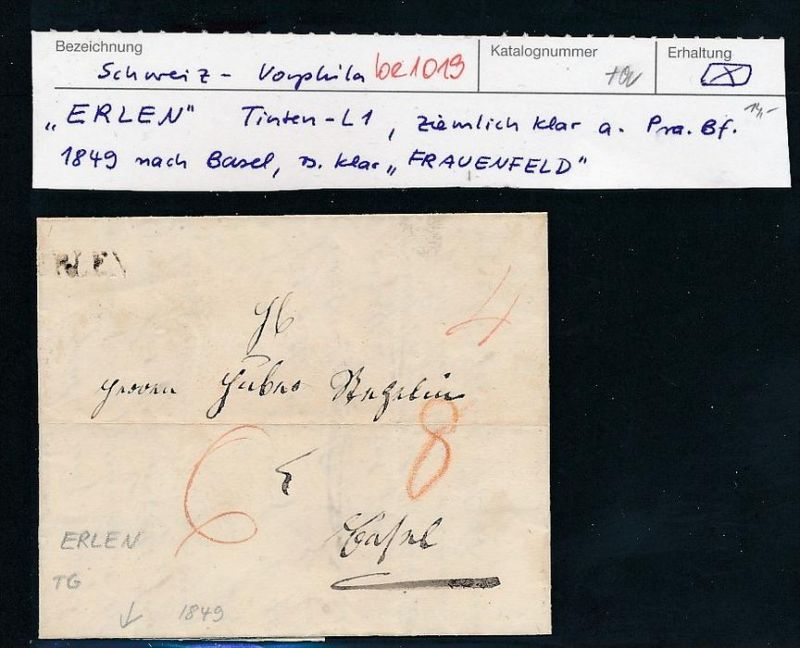 Schweiz-Altbrief Frauenfeld (be 1019   ) siehe scan ....