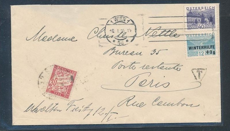 österreich Brief Nach Frankreich Nachporto Be1289 Siehe Scan Nr