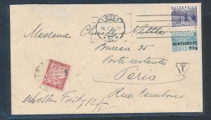 Österreich-Brief nach Frankreich Nachporto      (be1289  ) siehe scan
