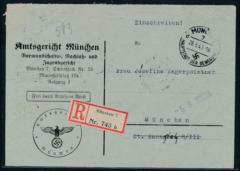 Gerichts Brief München     (be1263  ) siehe scan
