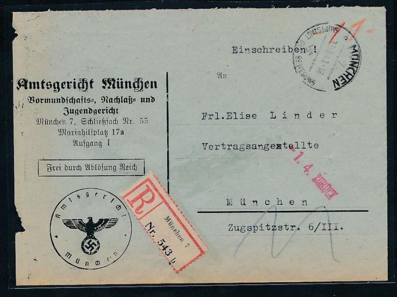 Gerichts Brief München     (be1262  ) siehe scan