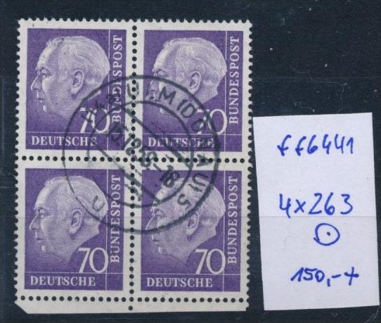 Bund-Rollen Marken aus Bogen 4er Block Nr. 263 (ff6441 ) siehe scan