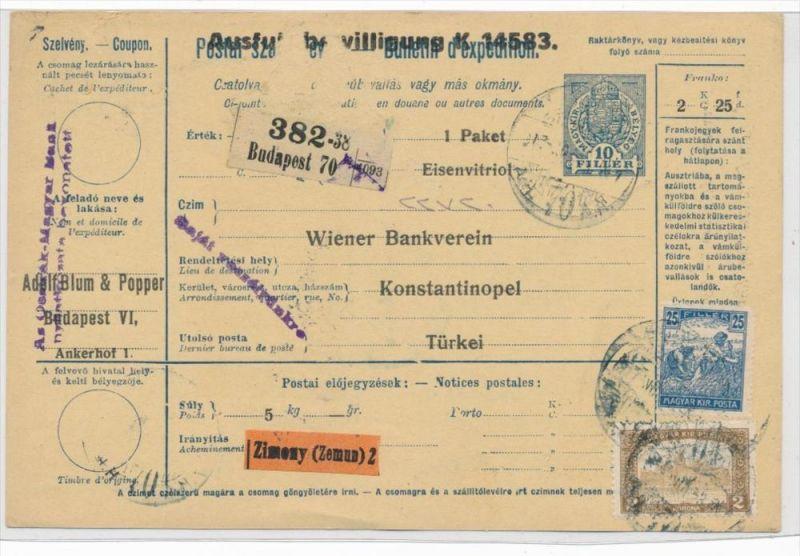 Ungarn Paketkarte in die Türkei mit Nachporto  (zz9187 ) siehe scan !