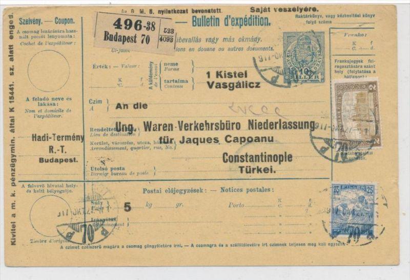 Ungarn Paketkarte in die Türkei mit Nachporto  (zz9189 ) siehe scan !