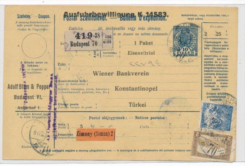 Ungarn Paketkarte in die Türkei mit Nachporto  (zz9184 ) siehe scan !