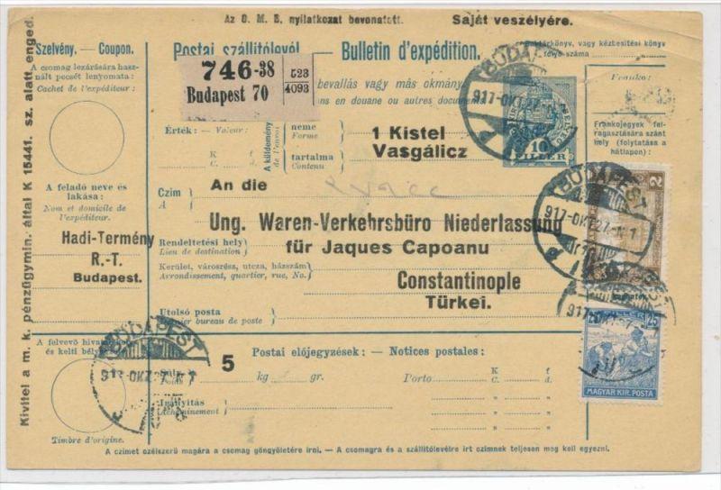 Ungarn Paketkarte in die Türkei mit Nachporto  (zz9188 ) siehe scan !