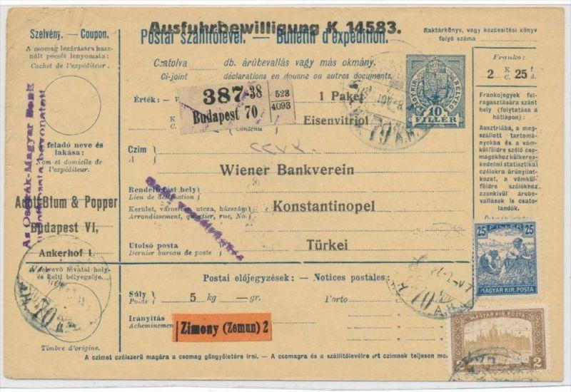 Ungarn Paketkarte in die Türkei mit Nachporto  (zz9181  ) siehe scan !