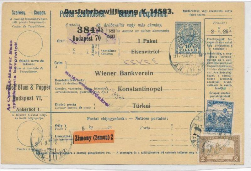 Ungarn Paketkarte in die Türkei mit Nachporto  (zz9180  ) siehe scan !