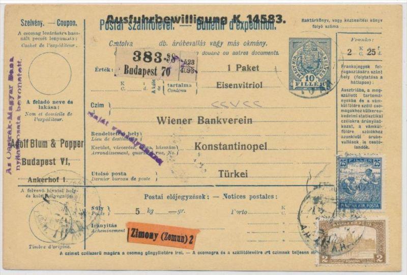 Ungarn Paketkarte in die Türkei mit Nachporto  (zz9182  ) siehe scan !