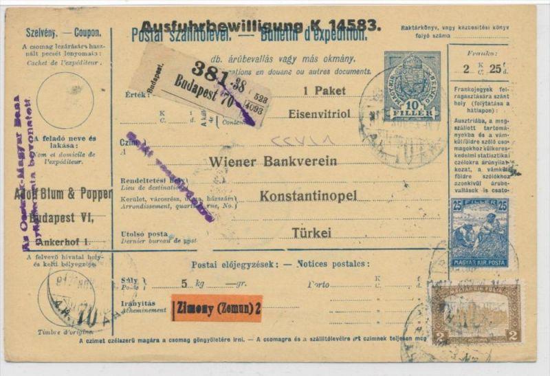 Ungarn Paketkarte in die Türkei mit Nachporto  (zz9185  ) siehe scan !