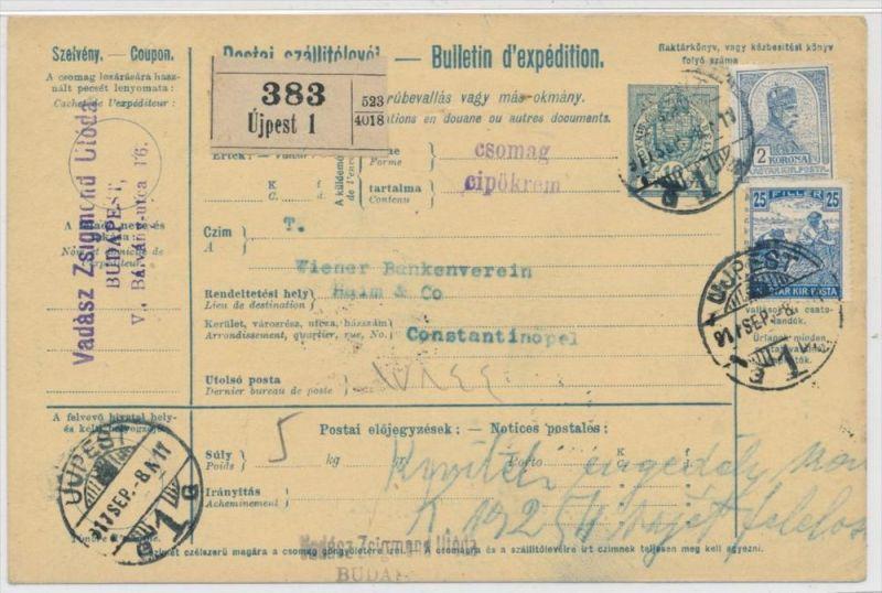 Ungarn Paketkarte in die Türkei mit Nachporto  (zz9186  ) siehe scan !