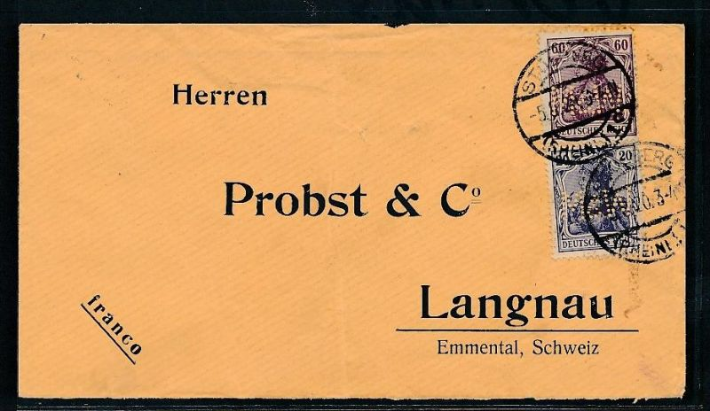 Dr Brief In Die Schweiz Perfin Be1696 Siehe Scan Vergrößert Nr