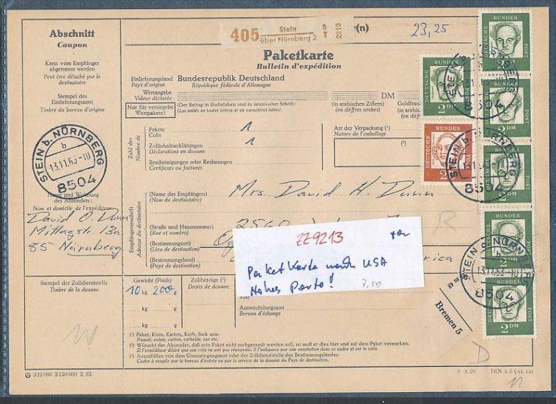 Brd Paketkarte Nach Usa Hohes Porto Zz9213 Siehe Scan Nr