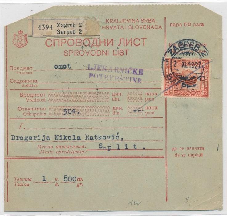 Alte Jugoslawien Karte.Kroatien Alte Paket Karte Nachporto Zz9302 Siehe Scan