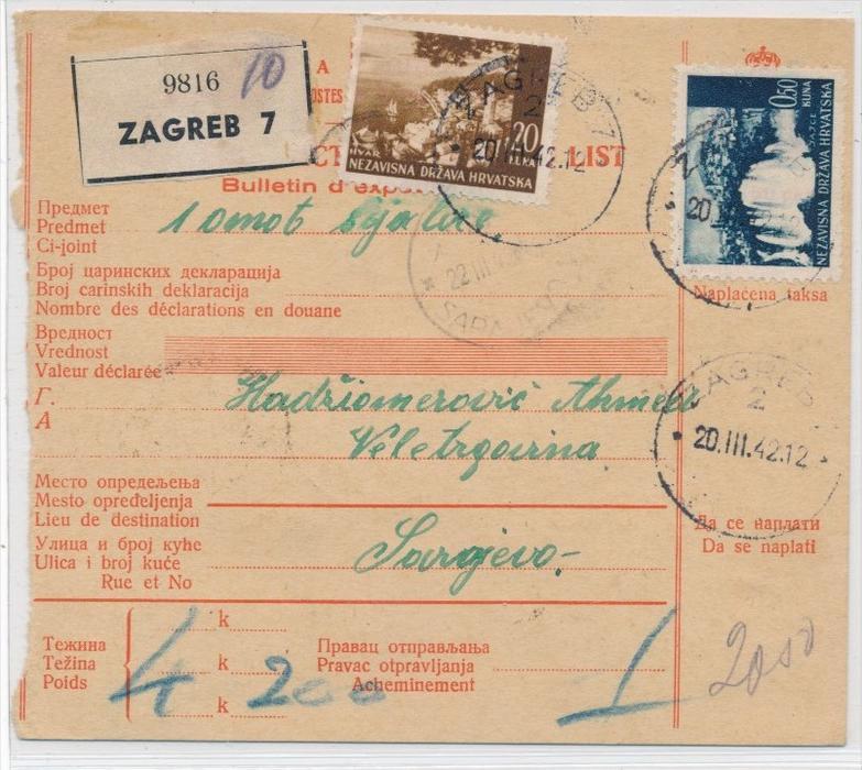 Alte Jugoslawien Karte.Kroatien Alte Paket Karte Nachporto Zz9304 Siehe Scan