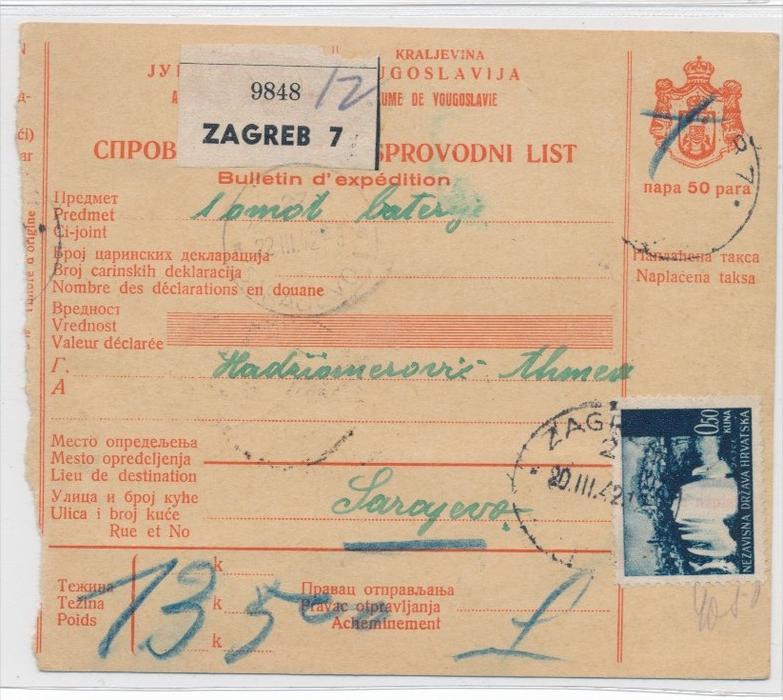 Alte Jugoslawien Karte.Kroatien Alte Paket Karte Nachporto Zz9305 Siehe Scan
