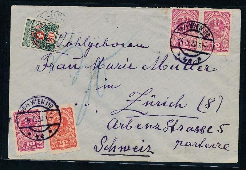 Österreich  -Beleg  in die Schweiz -Nachporto   (be2261  )  siehe scan
