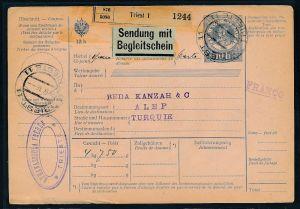 Österreich-Ganzsache in die Türkei Nachporto.. ( zz9486 ) siehe scan