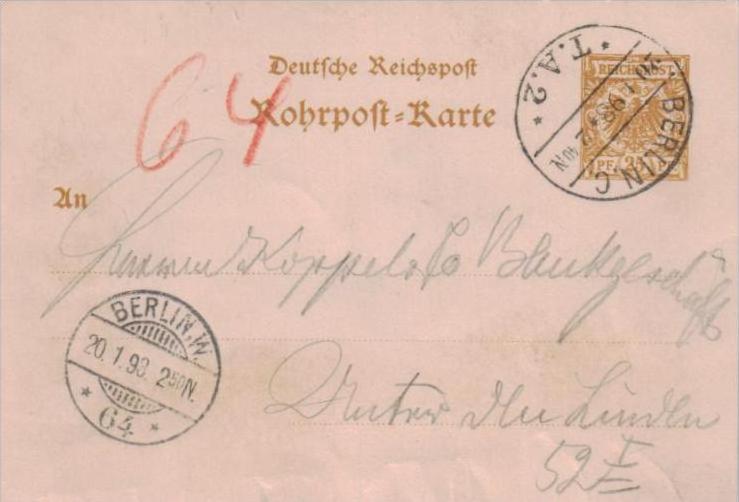 Rohrpost  -Berlin  -Ganzsache  ( k1041   ) siehe scan