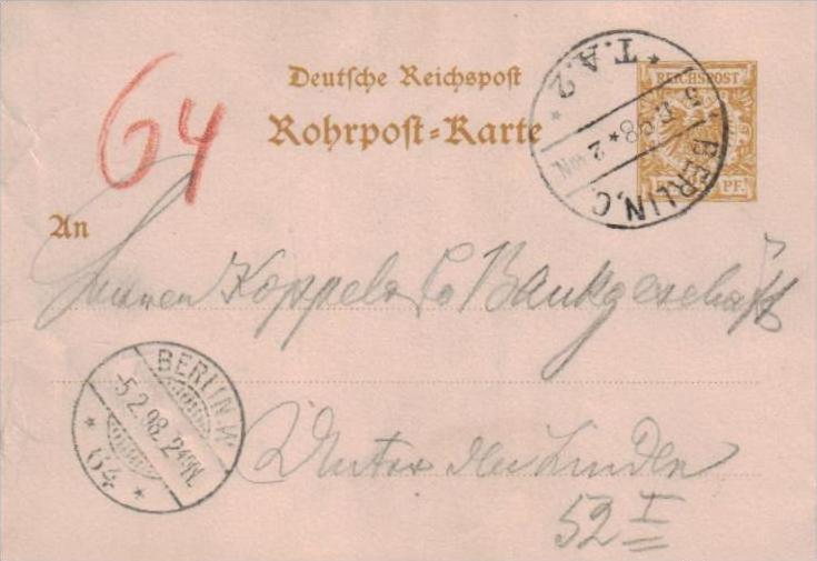 Rohrpost  -Berlin  -Ganzsache  ( k1045   ) siehe scan