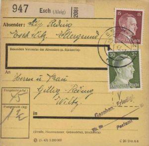 Paketkarte -Frankatur deutsch in Luxemburg gebraucht - Esch  ( k1123   ) siehe scan