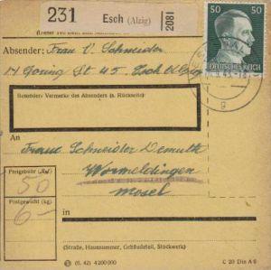 Paketkarte -Frankatur deutsch in Luxemburg gebraucht - Esch    ( k1135   ) siehe scan