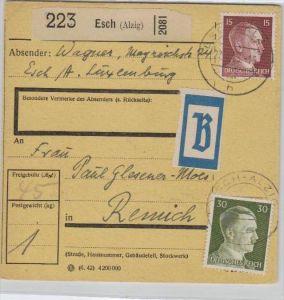 Paketkarte - Esch -Luxemburg   ...  ( br 219  ) siehe Bild (er)  !