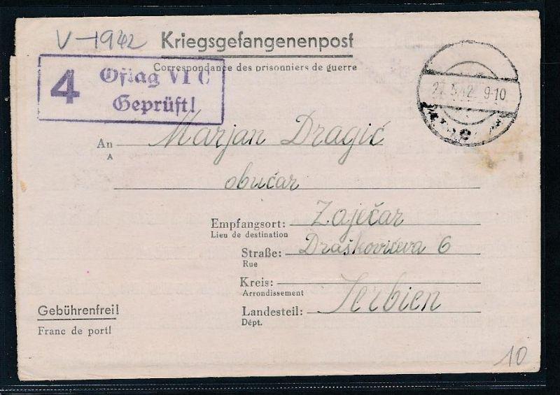 D.-Reich- Kriegsgefangenen Post nach Serbien   ( be2786  ) siehe scan