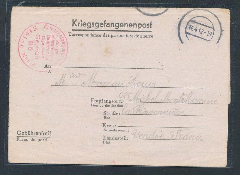 D.-Reich- Kriegsgefangenen Post nach Frankreich    ( be2796  ) siehe scan