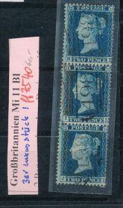 UK  Nr. 11 BI  o Luxus 3er Streifen  (ff7540 ) siehe scan