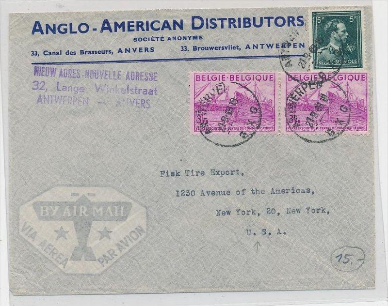 Belgien  Luftpost nach USA     ( zz9791 ) siehe scan