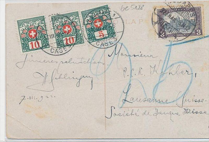 Ungarn - Karte  Nachporto Schweiz  (be5128 ) siehe scan