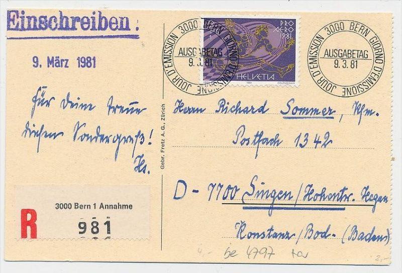Schweiz-Luftpost Beleg    (be4797 )  siehe Bild
