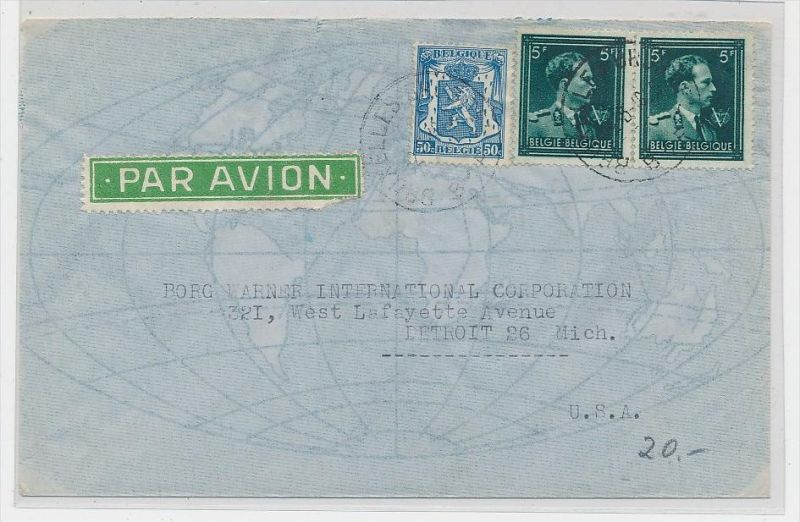 Belgien  Luftpost  > USA     (be5337 ) siehe scan