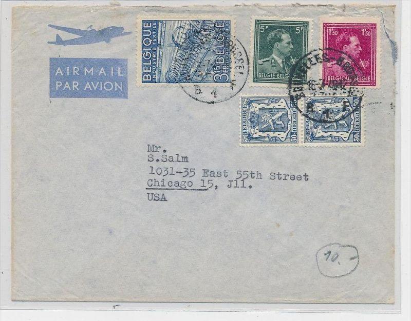 Belgien  Luftpost  >USA       (be5290 ) siehe scan