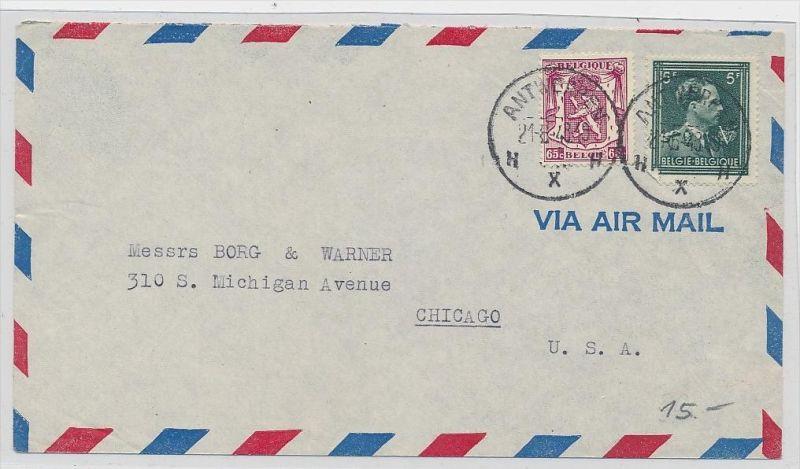 Belgien  Luftpost  >USA       (be5289 ) siehe scan