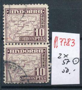 Spanisch Andorra  Nr.2x57  hoher Dauerserien Wert      o    (ff7783 ) siehe scan