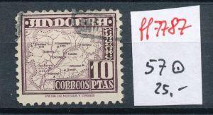 Spanisch Andorra  Nr.  57  hoher Dauerserien Wert      o    (ff7787 ) siehe scan
