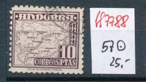 Spanisch Andorra  Nr.  57  hoher Dauerserien Wert      o    (ff7788 ) siehe scan